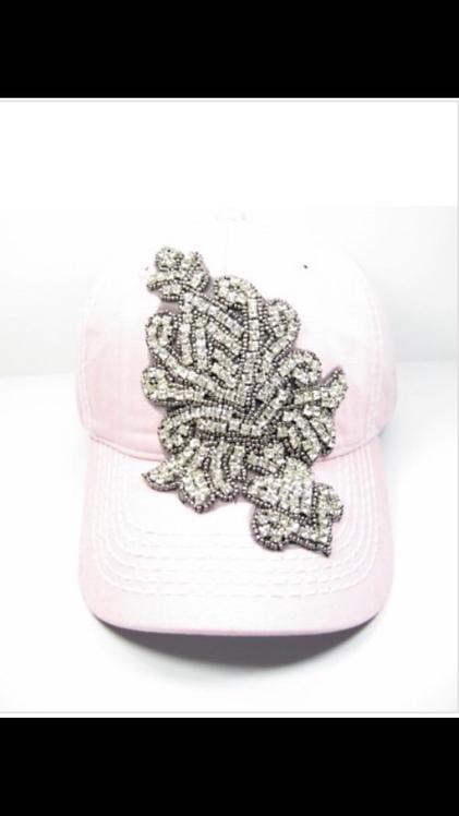 Rhinestone Emblem Baseball Hat - Light Pink