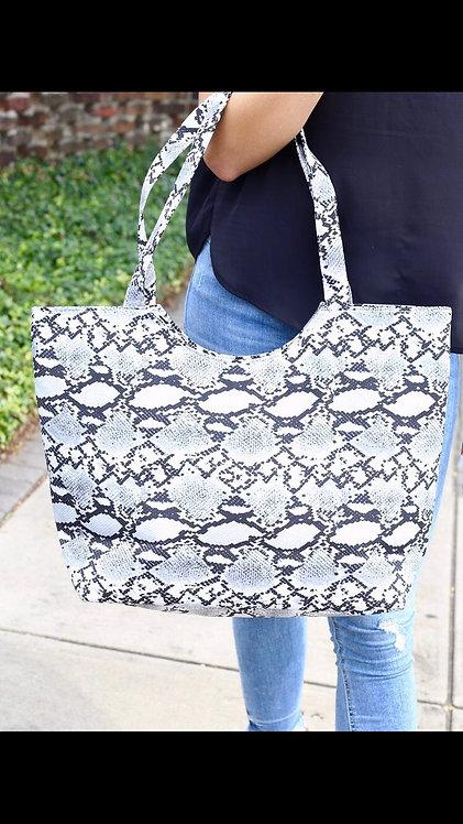 Gray Snakeskin Tote Bag