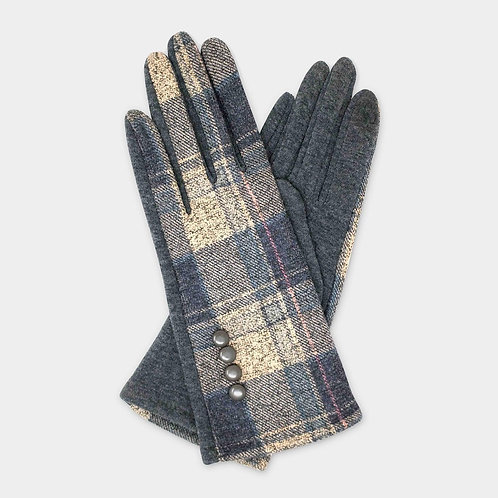 Plaid Button Gloves - Gray