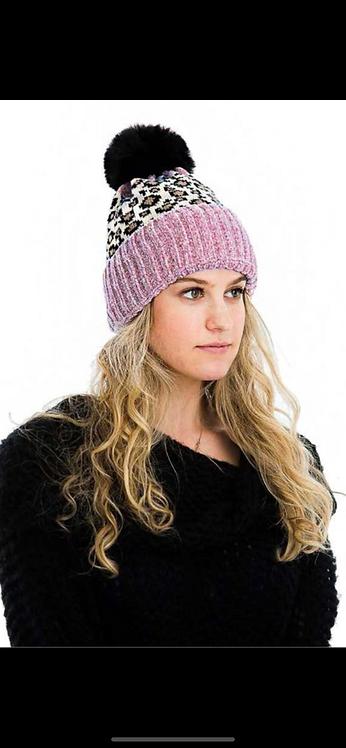 Pink Ivory Leopard Poof Hat