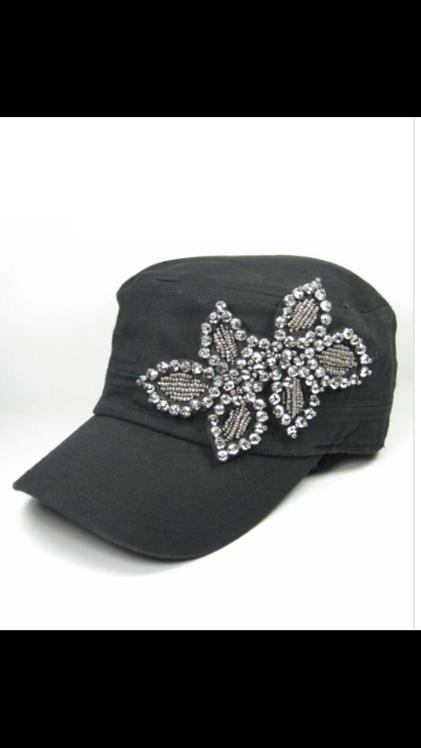 Bling Beaded Cadet Hat - Black