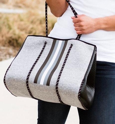 Stripe Tote Bag Set - Black / Gray