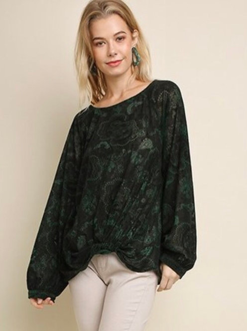 Floral and Paisley Velvet Top - Green