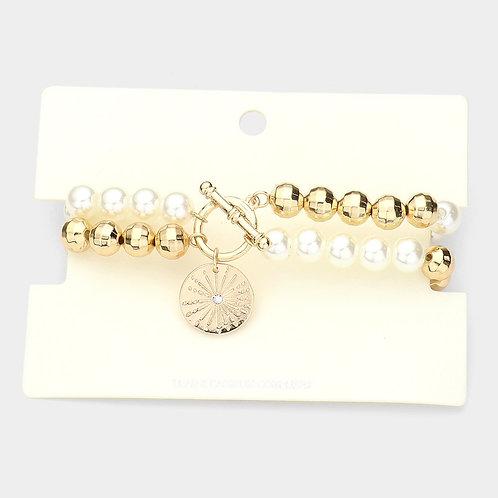 Beaded Compass Bracelet - Cream