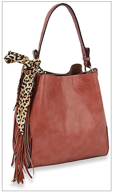 Leopard Sash Handbag - Rust