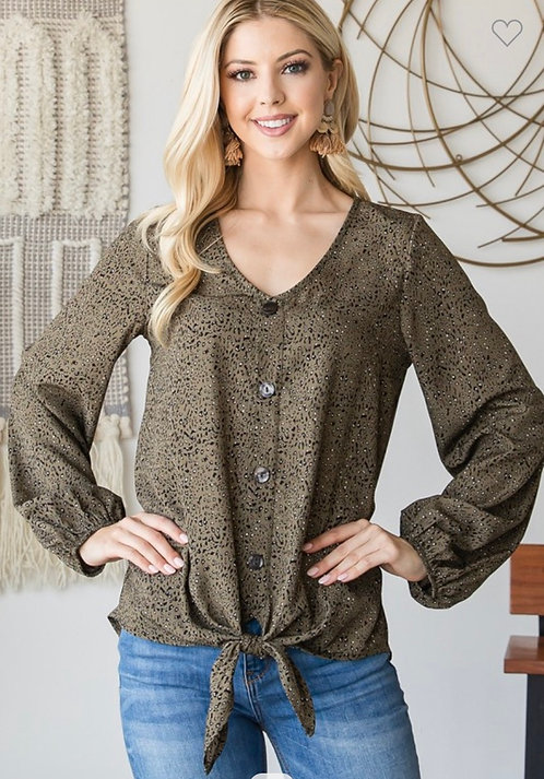 Olive Speckled Button Shirt