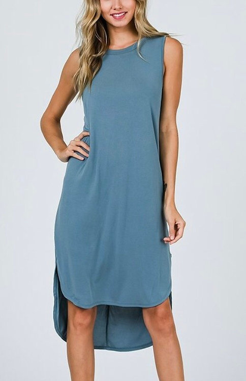 French Blue Solid Dress