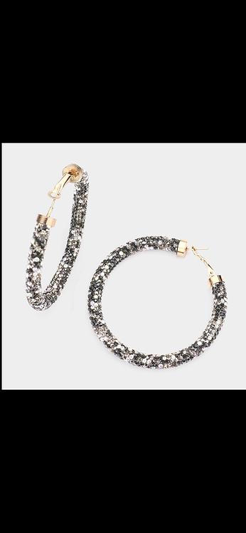 Beaded Sparkle Hoop - Leopard