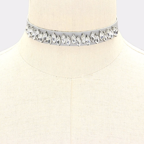Leather w/ Bling Choker - Gray
