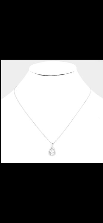 Pear CZ Solitaire - Silver