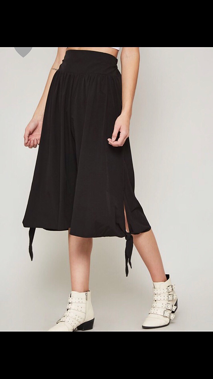 Black Culottes Pants with Ties