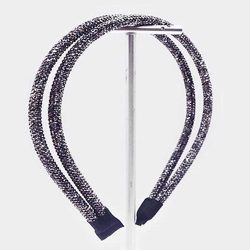 Sparkle Double Headband - Gunmetal