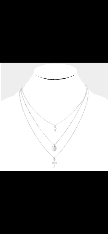 Layered Individual Cross - Silver