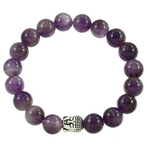 Beaded Buddha Bracelet - Purple