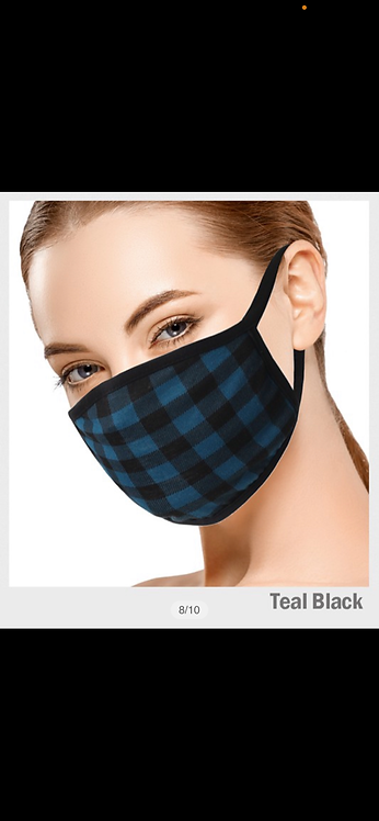 Plaid Pattern Mask - Teal