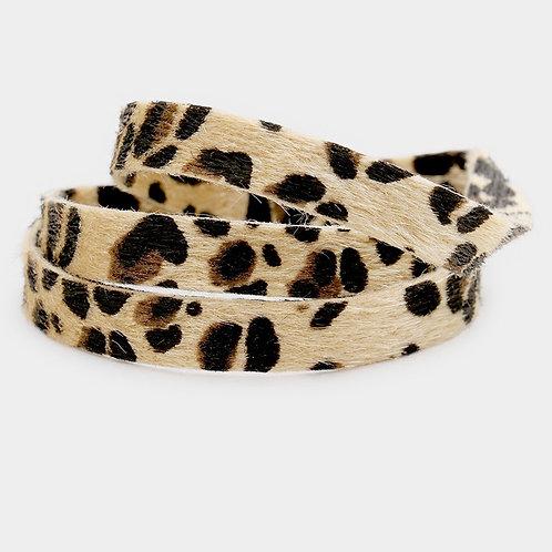 Leopard Wrap Bracelet - Tan