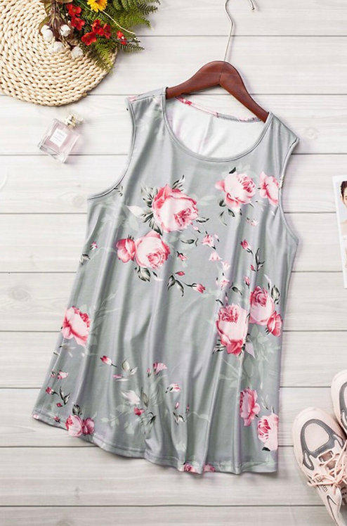 Gray Floral Sleeveless