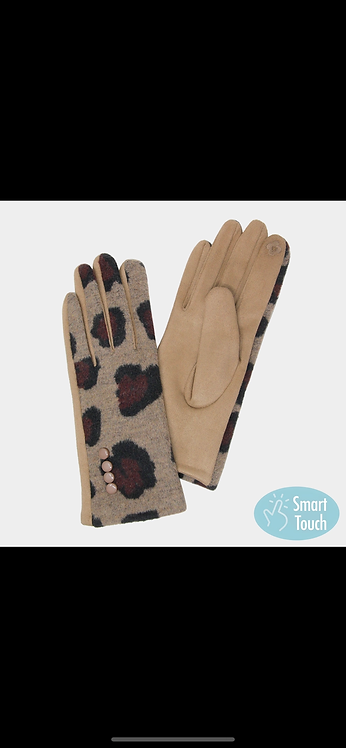 Leopard Gloves - Tan
