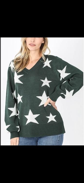 Hunter Green Star Sweater
