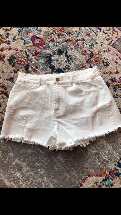 Distressed Denim Shorts - White
