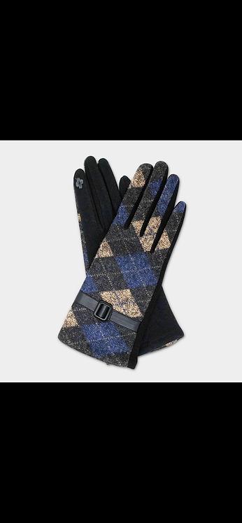 Plaid Buckle Glove - Navy