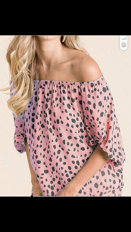 Pink Leopard Off the Shoulder Blouse