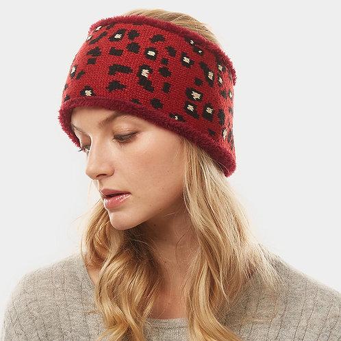 Leopard Knit Headwarmer - Red