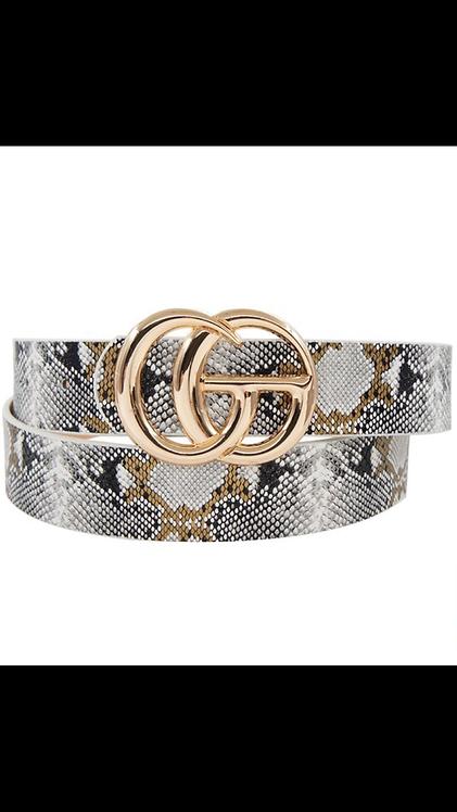 Snake Print Go Belt - Gold