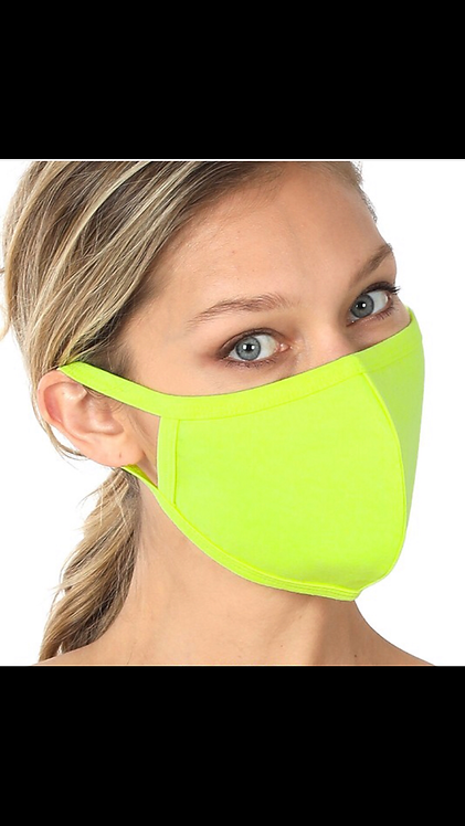 Solid Face Mask - Neon Green