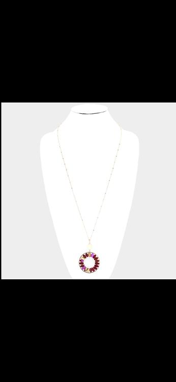 Beaded Circle Necklace - Fuchsia