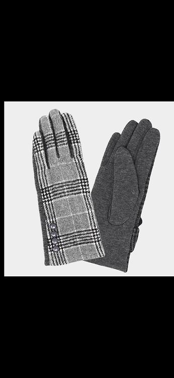 Plaid Button Glove - Gray