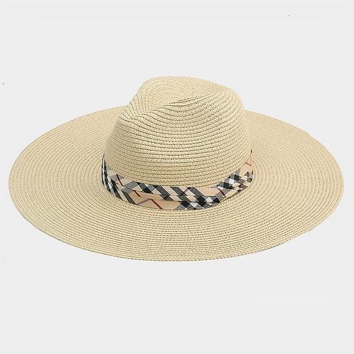 Taupe Sun Hat - Plaid Ribbon