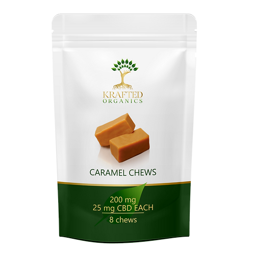 CBD Caramel Chews 100 mg (4) per package 25mg each