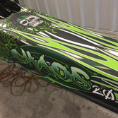 dragster custom graphics with skulls and green graphics