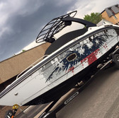 american flag inspired eagle wrap on cabin boat