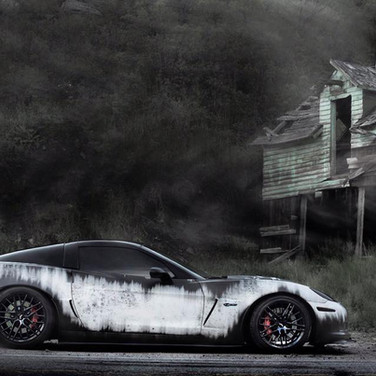 scary corvette z06 custom satin white and black wrap with black wheels