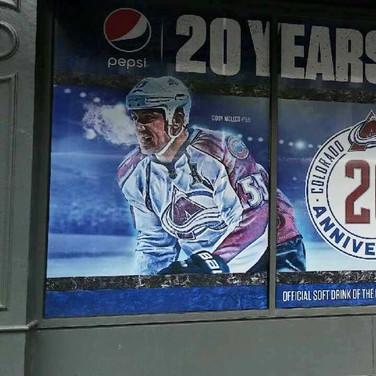Avalanche Hockey wall wraps on store windows
