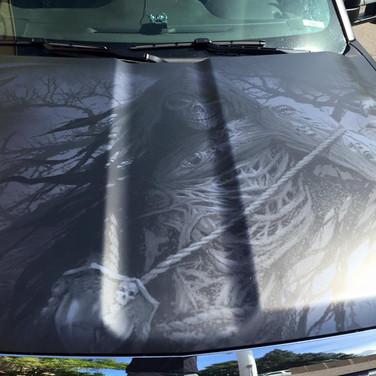 custom truck hood vinyl wrap