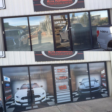 automotive vinyl wrap on shop windows and door