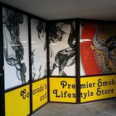 Smoke shop glass store window graphics