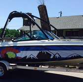 colorado mountain and flag inspired boat wrap