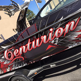 centurion boat wrap with logo and wings