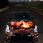 creative race car vinyl wrapped hood