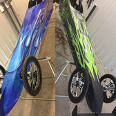 jr dragster custom vinyl graphics with flames and carbon fiber