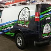 Electrician work van graphics and advertising vinyl print