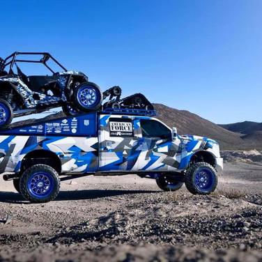 custom truck and matching utv blue camo graphics