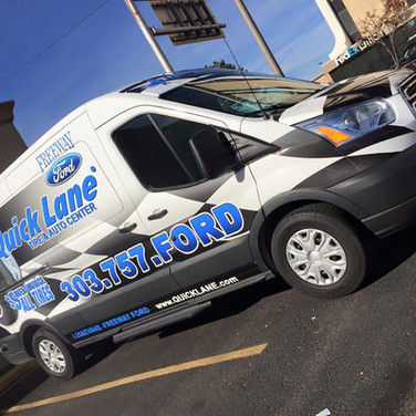 Ford Transit Service Shuttle Wrap for Tire and Oil change company