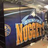 store shelving vinyl wrap with Denver Nuggets sports logo