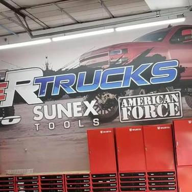 automotive wall wrap above toolbox