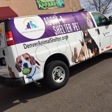 Denver Animal Shelter pet wrap on transport Ford E series